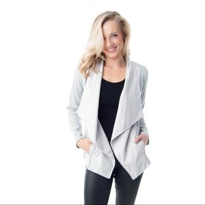 Light grey cardigan with suede contrast